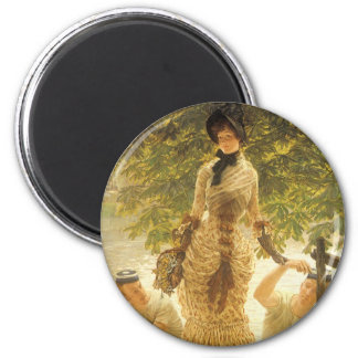 On The Thames by James Tissot, Vintage Realism 2 Inch Round Magnet