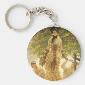 On The Thames by James Tissot, Vintage Realism Keychain