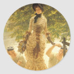 On The Thames by James Tissot, Vintage Realism Round Sticker