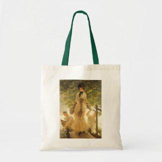 On The Thames by James Tissot, Vintage Realism Tote Bag