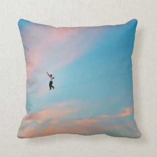 On the Tightrope Throw Pillow