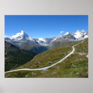 On the trail, Matterhorn View, Swiss Alps Poster