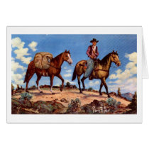 """""""On the Trail"""" Western Christmas Card"""