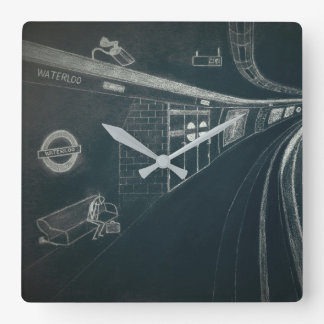 On the Underground and alone Square Wall Clock