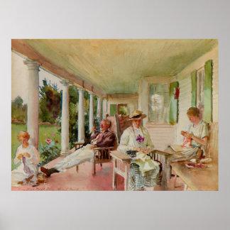 On the Verandah by John Singer Sargent Poster
