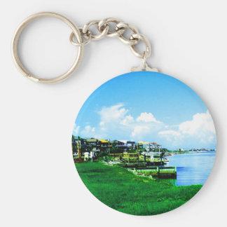 On the Waterfront Basic Round Button Keychain