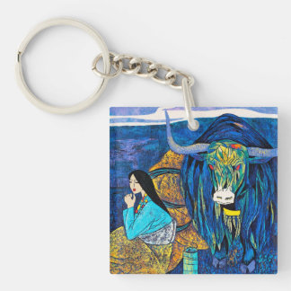 On The Way Hao Ping oriental abstract lady beauty Single-Sided Square Acrylic Keychain