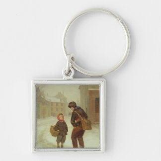 On the way to school in the snow, 1879 keychain