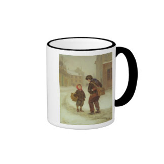 On the way to school in the snow, 1879 mugs