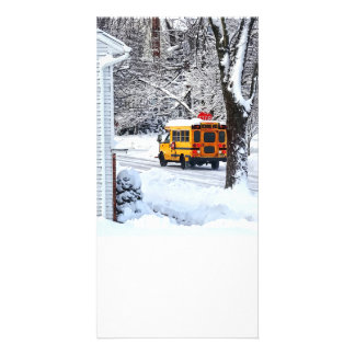 On the Way to School in Winter Card