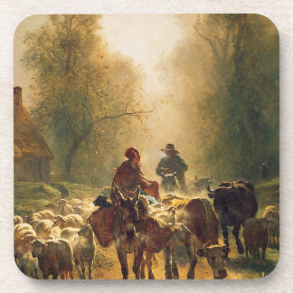 On the Way to the Market by Constant Troyon Coaster