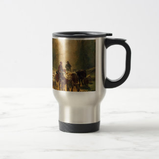 On the Way to the Market by Constant Troyon Travel Mug