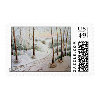 On The Way Winter Landscape Postage