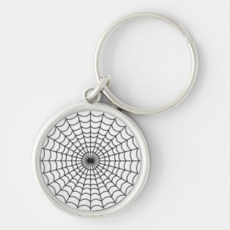 On the Web Silver-Colored Round Keychain