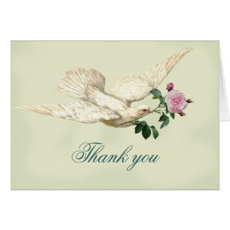 On the Wings of A Dove, pale sage green, thank you Card