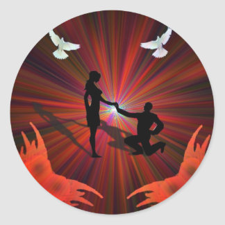 On the Wings of a Dove Valentine Round Stickers