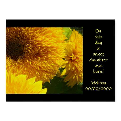 On this day a sweet daughter was born! art prints posters