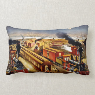 On Time American Railroad Currier and Ives Throw Pillow