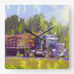 On Time Delivery Logging Truck Wall Clock