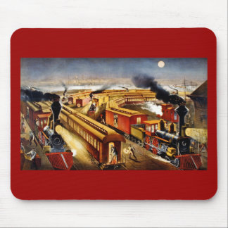 On Time - Vintage Locomotives at Night Mouse Pad