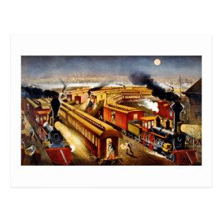 On Time - Vintage Locomotives at Night Postcards