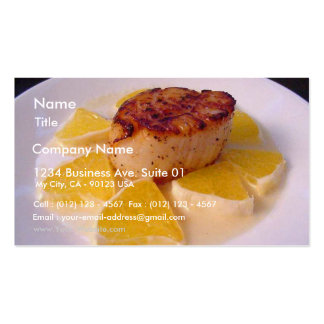 On To The Scallops In A Fennel Sauce With Orange Business Card Template