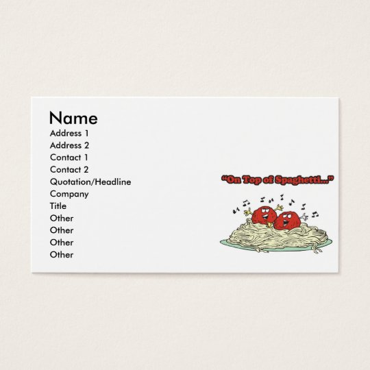 on top of spaghetti singing meatballs business card