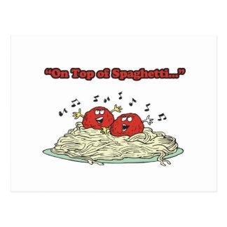 on top of spaghetti singing meatballs postcard