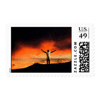 On Top of the Mountain Postage Stamp