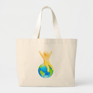 On top of world canvas bag