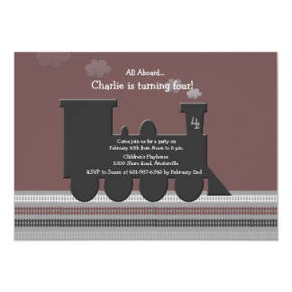 "On Track Birthday Party Invitation 5"" X 7"" Invitation Card"