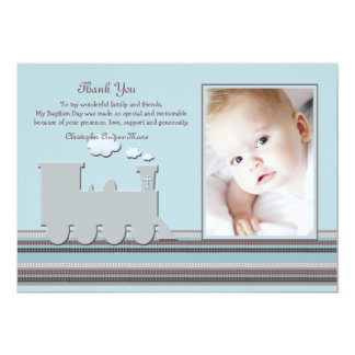 On Track Blue Photo Thank You Card