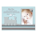 "On Track Blue Photo Thank You Card 5"" X 7"" Invitation Card"