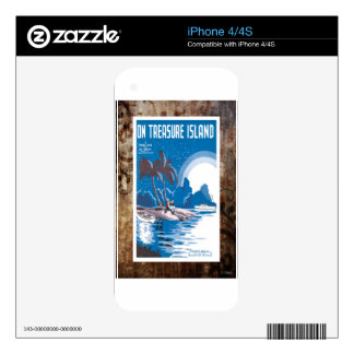 On Treasure Island Vintage Sheet Piano Music Skins For The iPhone 4