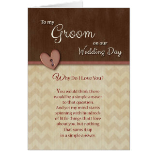 On Wedding Day to Groom Why do I love you Card