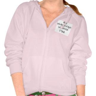 On Wednesdays We Wear Pink Slogan Zip Up Hoodie