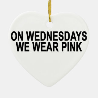 On Wednesdays We Wear Pink Women's T-Shirts.png Double-Sided Heart Ceramic Christmas Ornament