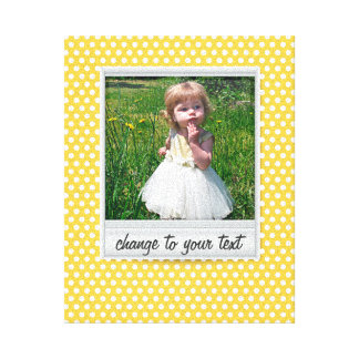 on white & sunny yellow polkadot canvas print