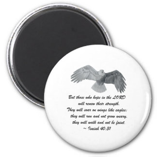On wings like Eagles - Is 40:31 2 Inch Round Magnet