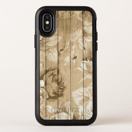 on-wood-vintage-wood-nostalgic OtterBox symmetry iPhone x case