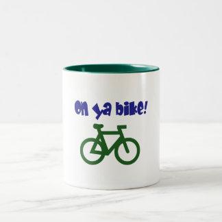 On Ya Bike! (blue text & green bicycle) Coffee Mugs