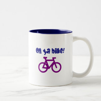 On Ya Bike! (blue text & purple bicycle) Coffee Mug