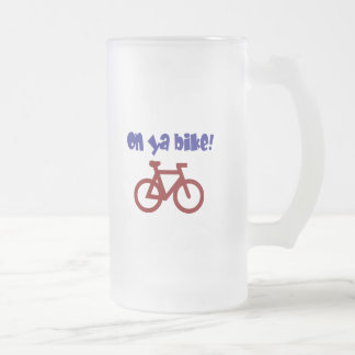 On Ya Bike! (blue text & red bicycle) Frosted Glass Beer Mug