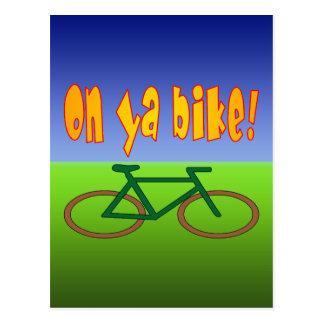 On Ya Bike! Cycling Go Green Zero Emissions Postcard