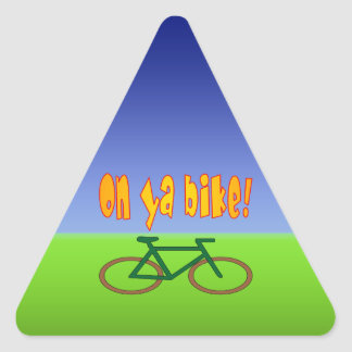 On Ya Bike! Cycling Go Green Zero Emissions Triangle Sticker