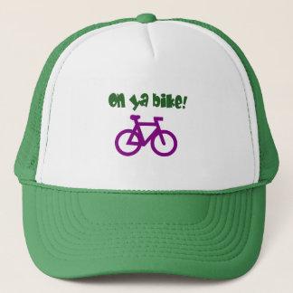On Ya Bike! (green text & purple bicycle) Trucker Hat