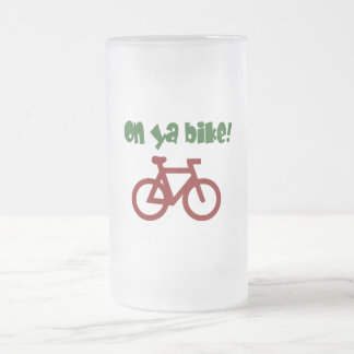 On Ya Bike! (green text & red bicycle) Frosted Glass Beer Mug