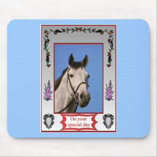 On your special day, Grey horse Mouse Pad