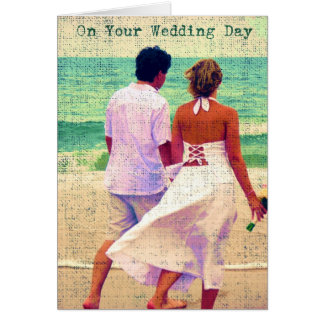 On Your Wedding Day, Beach Wedding Congratulations Greeting Card