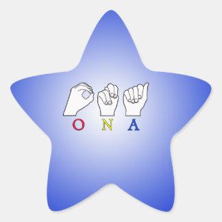 ONA ASL FINGERSPELLED SIGN NAME STAR STICKER
